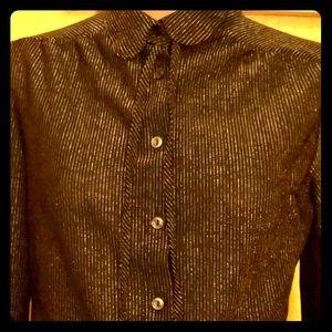 Tops - Vintage 70s black semi-sheer blouse w/gold stripes
